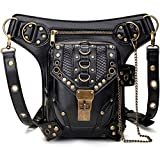 Steampunk Waist Bag Fanny Pack Fashion Gothic Leather Shoulder Crossbody Messenger Bags Thigh Leg Hip Holster Purse Travel Pouch Hiking Sport Chain Bags for Women Men