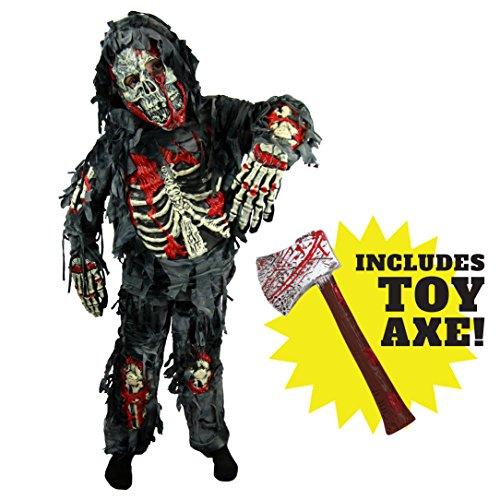 Spooktacular Creations - Disfraz de zombi de lujo para niño con hacha sangrienta (L 10-12 años)