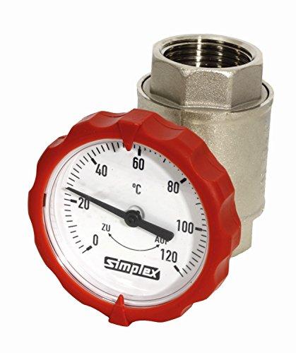Kugelhahn 1 IG, mit Thermometer rot PN 16, Baulänge 72,5 mm