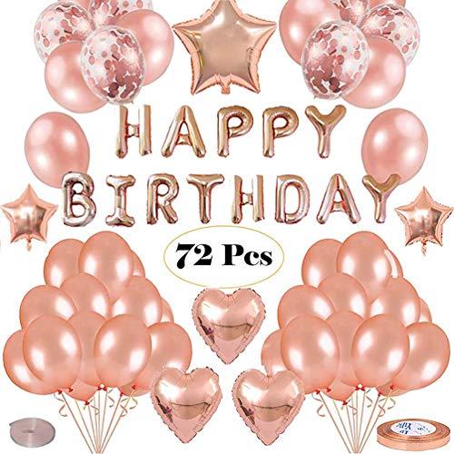 Ellyeall Partydekoration Darunter 72 Stück, Alles Gute Zum Geburtstag Ballons Banner, Herz Und Stern-Folien-Ballone, Konfetti Und Latex Ballons Für Frauen-Mädchen-Hochzeitstag-Babyparty