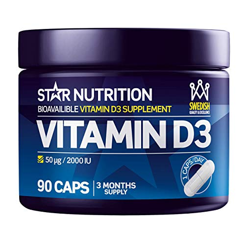 Vitamin D3 Capsules by Star Nutrition | Highly Concentrated | Workout Sport Supplement | Supplement for Bone, Teeth, Muscle, Heart, Strength & Immune System | 2000 IU | 90 Capsules - 3 Month Supply