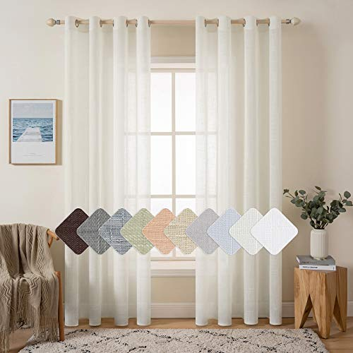 MIULEE 2 Panels Natural Linen Look Textured Sheer Curtains Elegant Solid Ivory Drapes Grommet Top Window Voile Panels for Bedroom Living Room (52X84 Inch)