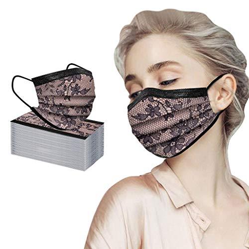 JMNy Erwachsene Mundschutz Multifunktionstuch, Spitze Einweg 3-lagig Modische Maske, Staubdicht Atmungsaktive Vlies Mund-Nasenschutz Bandana Halstuch