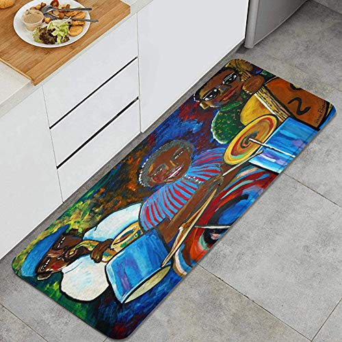 Jazz Musicians African American Sax Anti Fatigue Kitchen Mat Comfort Floor Mats Non-Slip Oil Stain Resistant Easy to Clean Kitchen Rug