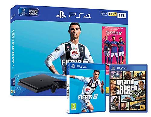 PS4 Slim 1TB schwarz Playstation 4 Konsole Pack: FIFA 19 + GTA V