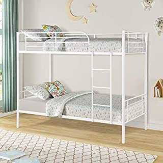 Easy Assembly Twin Over Twin Metal Bunk Bed, Save Space Heavy Duty Twin Bed Frame with Movable Ladder and Safety Guard Rails for Kids/Teens/Children/Adults Supports 400lbs (White)