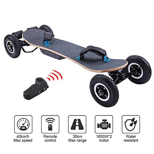 WOTR Off Road Elektro-Skateboard, 1650W Motor Berg Longboard mit Dual-Motoren - All-Terrain, 4 Rädern, Höchstgeschwindigkeit 40 km/h, Remote Controlled High Speed Brett