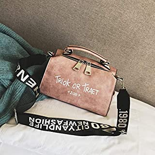 Adebie - Women Shoulder Messenger Bag Boston Handbag Fashion Letter Printing Halloween Tote Bags Wide Strap Crossbody Bag for Women Sac 22cm12cm16cm Pink []