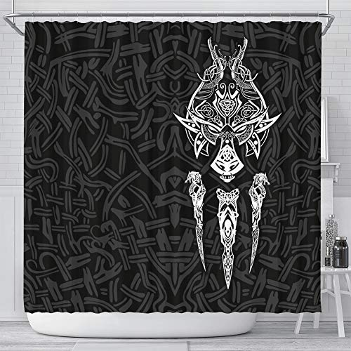 LRKZ Norse Odin Wolf Viking Shower Curtain,3D Wolve Graphic Waterproof Polyester Anti-Mould Cloth Fabric Bathroom Decor with 12Pcs Hooks,White,200x180CM