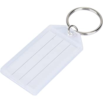 40 Pack Tough Plastic Key Tags with Split Ring Label Window Assorted Colors