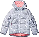Amazon Essentials Heavy-Weight Hooded Puffer Coat Dress, Heather Grey with White Hearts, 4T