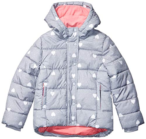 Amazon Essentials Girls' Little Heavy-Weight Hooded Puffer Coat, Heather Grey with White Hearts, Small