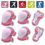 Biowlucn Kids/Youth 6 in 1 Set Knee Pad Elbow Pads Guards Protective Gear Set with Wrist Guard and Adjustable Strap for Skating Cycling Scooter Riding Sports