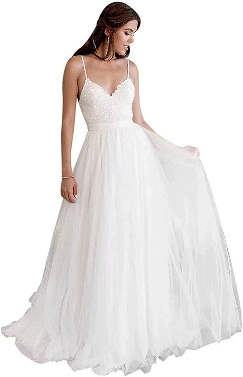Amazon.com Beach Wedding Dresses for Bride 18 Long V Neck Lace ...