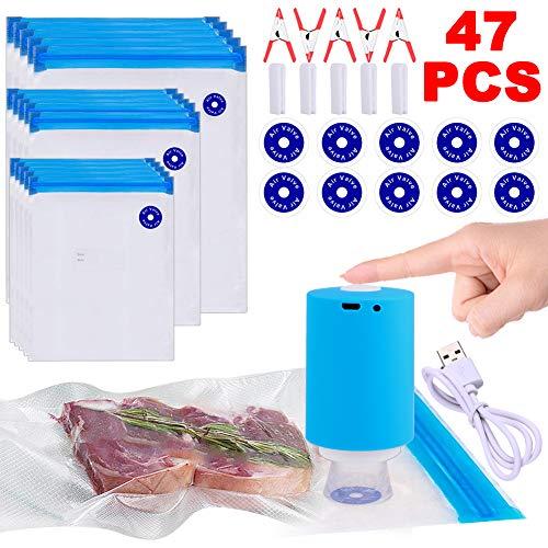 Sous Vide Bags, 47 PCS Electric Vacuum Sealer & Reusable Vacuum Food Storage Bags for Anova, Joule Cookers -35 PCS Reusable Vacuum Sealer Bags,5 Clips & 5 Sealing Clips,Rechargeable Vacuum Sealer Set