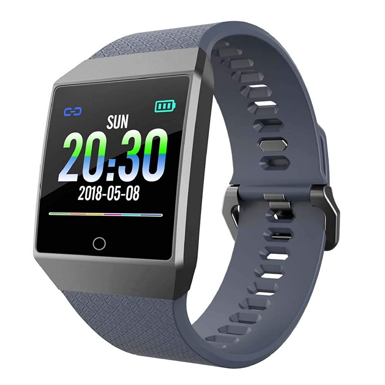 dulawei3 Waterproof 1.3inch Bluetooth Smart Bracelet Sports Watch with Heart Rate Activity Tracking Blood Pressure Sleep Monitor GPS Fitness Ultra-Long Battery Life for Android iOS Grey + Silver