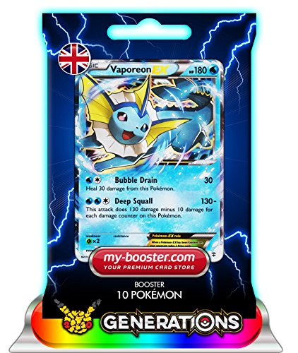 VAPOREON EX (Aquali) 24/83 180HP XY Generations - Booster de 10 cartes Pokemon anglaises my-booster
