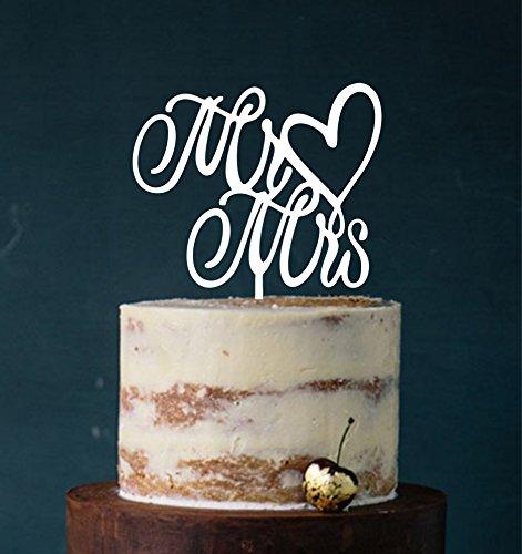Cake Topper, Mr & Mrs, Tortenstecker, Tortefigur Acryl, Tortenständer Etagere Hochzeit Hochzeitstorte Kuchenaufstecker (Weiß) Art.Nr. 5074