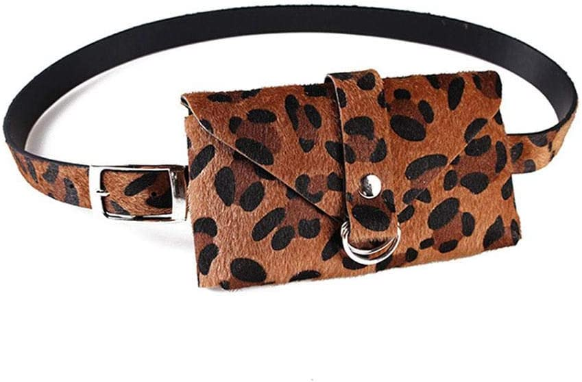 KOBWA Bolsa de cinturón con estampado de leopardo, para mujer, de gamuza y piel, con bolsas extraíbles para la cintura, elegante y a la moda, bolsa para teléfono móvil, el mejor regalo para el día