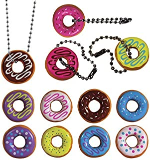 I Love Donuts Necklaces and Keychains. Set of 12 ~ All Assorted Colors, Complete with Ball chains.
