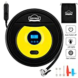 DEWINNER Tyre Inflator, Portable Air Compressor, Digital 12V DC 150PSI,Digital LCD Display with Auto Shut Pressure Gauge, Auto Car Air Tyre Pump with 35L/Min Air Flow and LED Light