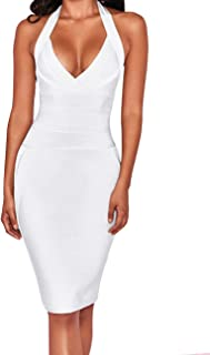 Women's Deep V-Neck Backless Halter Bodycon Cocktail Party Bandage Dress