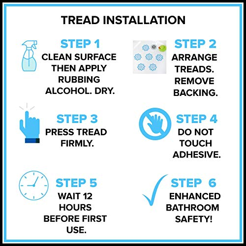 SlipX Solutions Adhesive Square Safety Treads Add Non-Slip Traction to Tubs, Showers