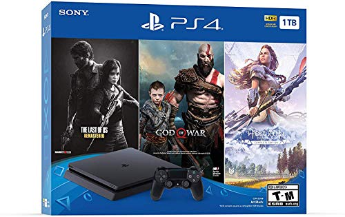 Newest Flagship Sony Play Station 4 1TB HDD Only on Playstation PS4 Console Slim Bundle - Included 3X Games (The Last of Us, God of War, Horizon Zero Dawn) 1TB Hard Drive Incredible Games -Jet Black