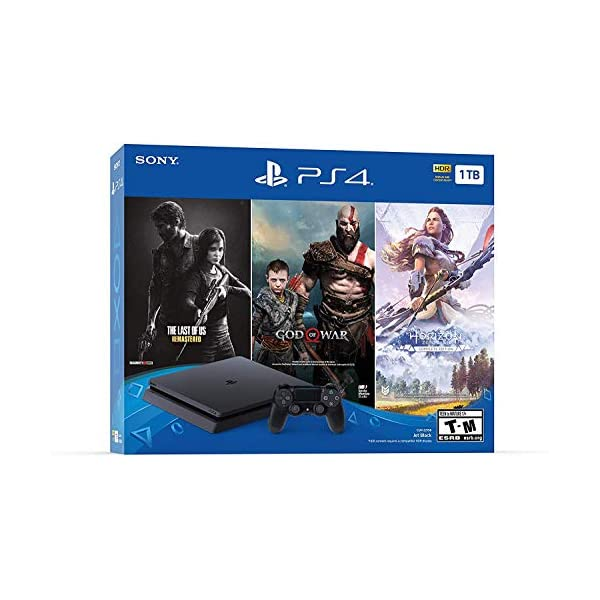 Newest Flagship Sony Play Station 4 1TB HDD Only on Playstation PS4 Console Slim Bundle – Included 3X Games (The Last of Us, God of War, Horizon Zero Dawn) 1TB Hard Drive Incredible Games -Jet Black