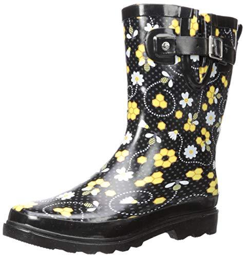 Western Chief Womens' Waterproof Printed Mid Height Rain Boot, Bloom Bees, 9 M US