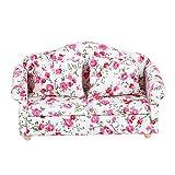 Sofá de casa de muñecas con patrón de flores, mini sofá doble de casa de muñecas, accesorio de moda para casa de muñecas o muñeca a escala 1/12, regalo para niñas(Pequeña flor)