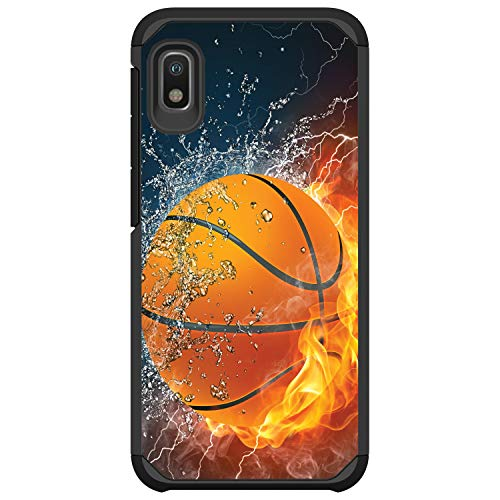MINITURTLE Compatible with Samsung Galaxy A10e, A20e Bumper Dual Layer Hard Shell Protective Case Cover [Defender] - Water Fire Basketball
