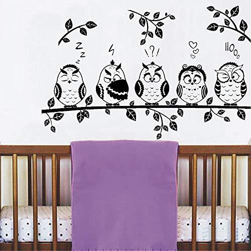 Blrpbc Adhesivos Pared Pegatinas de Pared Lindos búhos Sala de Estar sofá Fondo decoración de Pared Rama Vinilo guardería habitación de niños decoración del hogar 114x74cm