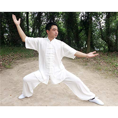 ZYQDRZ Ropa De Artes Marciales, Ropa De Tai Chi De Algodón Y Lino, Ropa De Tai Chi, Trajes/Incluidos Ropa Y Pantalones,Blanco,XXXL