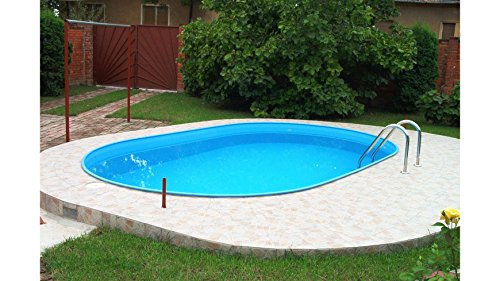 MYPOOL Komplettset (7-tlg.): »Einbau-Ovalpool inkl. Edelstahl-Tiefbeckenleiter« (in 2 Größen) 110 cm x 320 cm x 600 cm