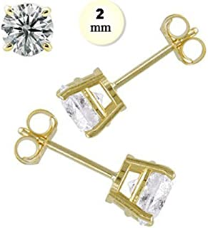 14K Yellow Gold Stud Earring For Kids Aprx .24 Carat Total Weight, 2mm Each Round Simulated Diamond Earring. Set on Prong Setting & Friction Style Post