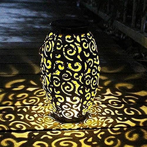 CJDM Linterna Ovalada Luz de jardín, Reflejo de Camino LED Blanco cálido, Linternas solares para Colgar al Aire Libre, Adornos Luces de jardín solares Impermeables para jardín, Patio, habitación