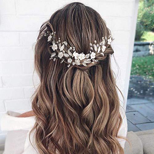 Mayelia Crystal Bride Hochzeit Haar Vine Silver Flower Braut Stirnband Strass Haarschmuck für Frauen und Mädchen