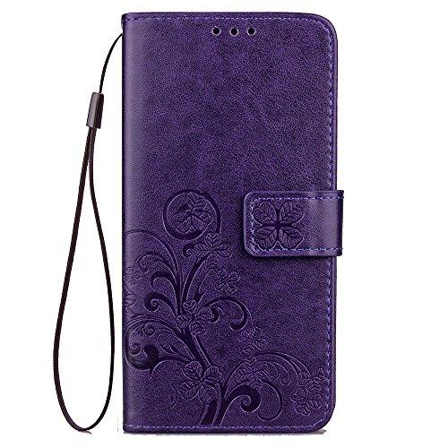 Capa para Sony Xperia XZ Premium Bookstyle, Capa carteira flip de couro PU Clover (roxa)