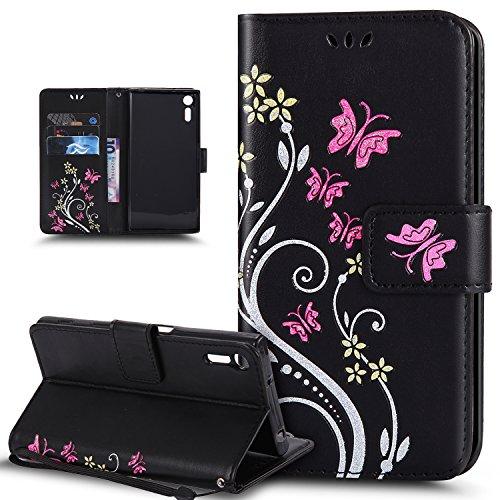 Kompatibel mit Schutzhülle Sony Xperia XZ/XZs Hülle Handyhülle Tasche Hülle,Bunte Gemalt Prägung Schmetterlings Blumen PU Lederhülle Flip Hülle Ständer Wallet Tasche Hülle Schutzhülle,Schwarz