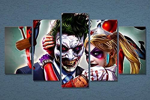Cuadro sobre Lienzo 5 Piezas Pintura Decoración Harly Quin City Caballero Oscuro Joke Grande Mural Moderno Home Decor Hogareña 5 Pieza Póster para Salon,Dormitorio,Baño,Comedor, Listo para Colgar