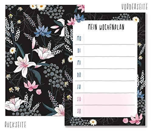 A6 Wochenplaner Block [Dark Flower] mit 50 Blatt zum Abreißen | Notizblock, Terminplaner, Organizer von Trendstuff by Häfft - klimaneutral & nachhaltig
