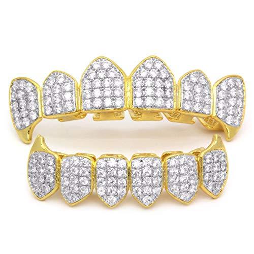 Moca-Schmuck Hip-Hop 18 Karat vergoldet , voll gefrorener CZ-Diamant-Vampir, Ober- und Unterseite, Grills für Ihre Zähne mit zusätzlichen Formstangen (Silber)