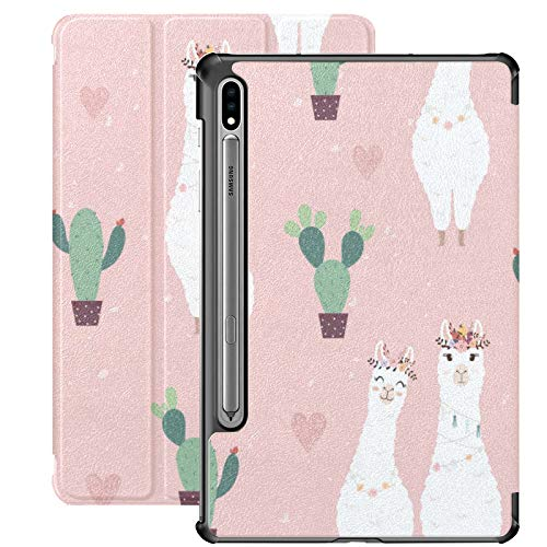 Galaxy Tablet S7 Plus 12.4 Inch Case 2020 With S Pen Holder, Cute Alpacas Cactus Slim Stand Protective Folio Case for Samsung