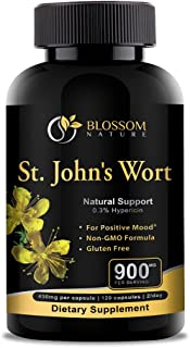 St.John's Wort 900mg Supplement-Natural Support for Positive Mood* -120 Vegetable Capsules, 450mg of Vegan, Non-GMO, Glute...