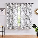 Fmfunctex Black White Sheer Curtains for Living-Room 54 inches Long Print Semi-Sheer Window Drapes for Bedroom Branch Tree Curtains for Bathroom Basement Kitchen 2-Pack Grommet Top