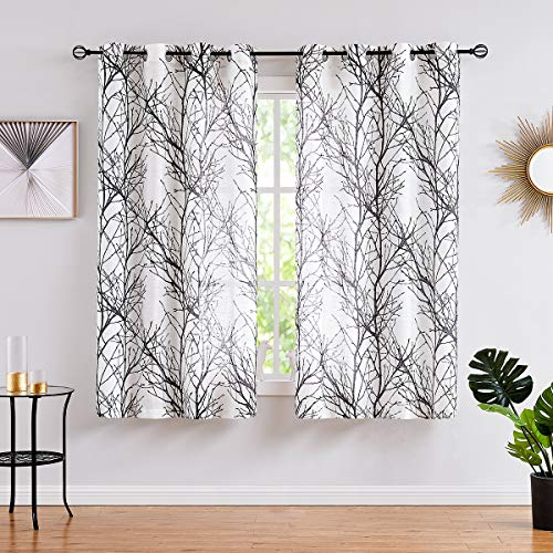 Fmfunctex Black White Sheer Curtains for Living-Room 54 inches Long Print Semi-Sheer Window Drapes for Bedroom Branch Tree Curtains for Bathroom Basement Kitchen Grommet Top