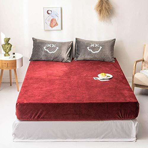 YFGY Lenzuola King King, coprimaterasso Universale Invernale, Lenzuola addensate in Velluto di Cristallo Caldo per Appartamento Rosso 180 * 200 cm