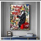CAPTIVATE HEART Lienzo de Arte de Pared 40x60cm sin Marco Banksy Sigue Tus sueños Monkey Posters de Lienzo Graffiti Street Wall Art Posters Impresiones Animales Imágenes Decoración para el hogar