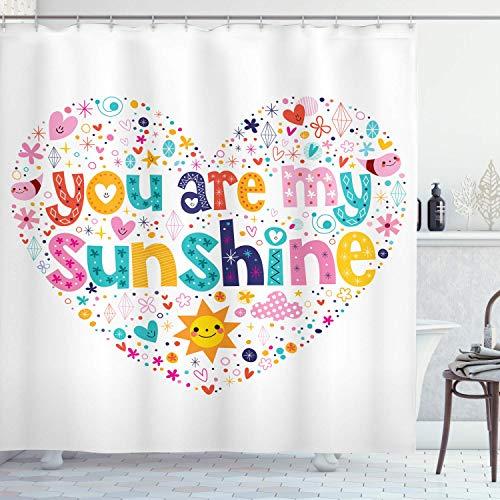 Cortina de ducha Saying,palabras motivacionales de sol en forma de corazón con estrellas,círculo,diseño infantil,nube de sol,tela de tela,,de baño con,rosa con 12 ganchos de plástico de 180 x